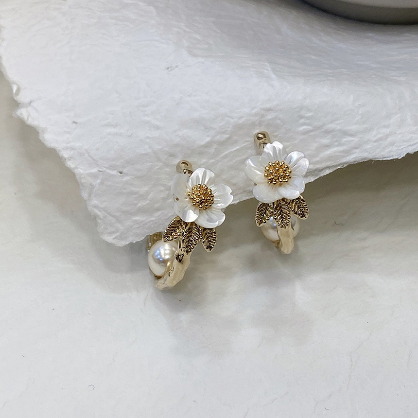 Noi mother-of-pearl pearl nickel nickel earrings