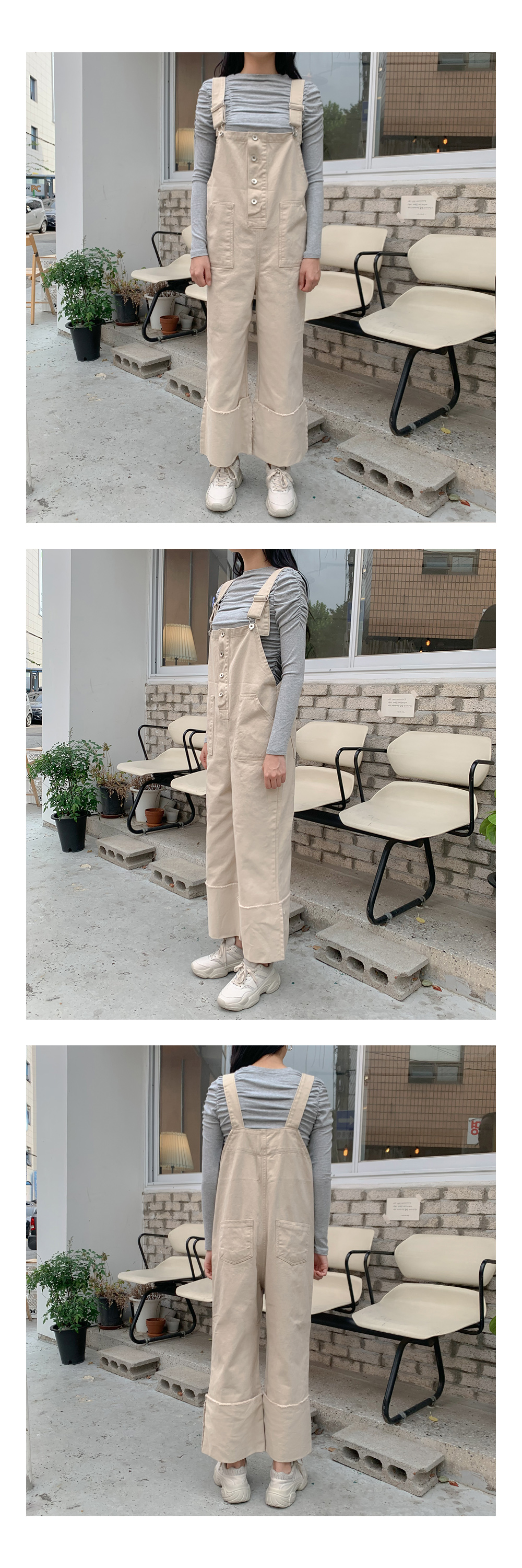 Plain pocket maxi overalls