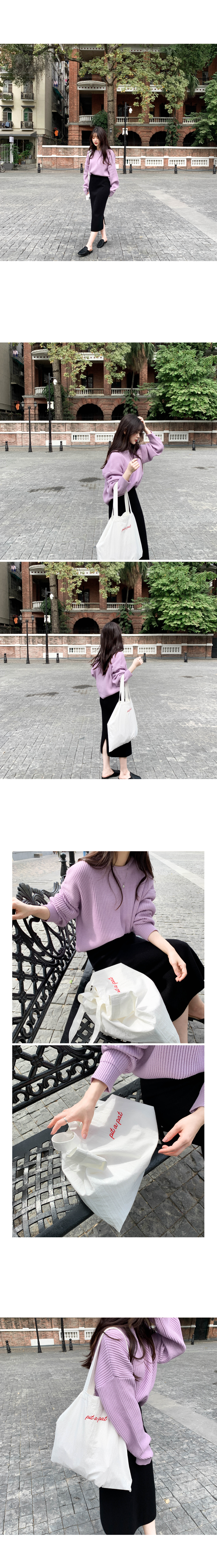 Spring Loose Fit Round Knit-Lavender Pink, Lemon Yellow