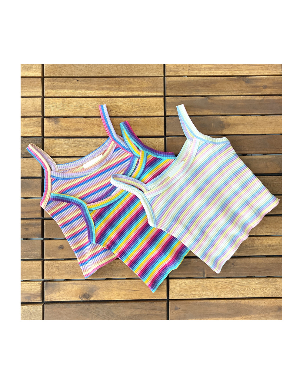 Rainbow Stripe Sleeveless T#YW169