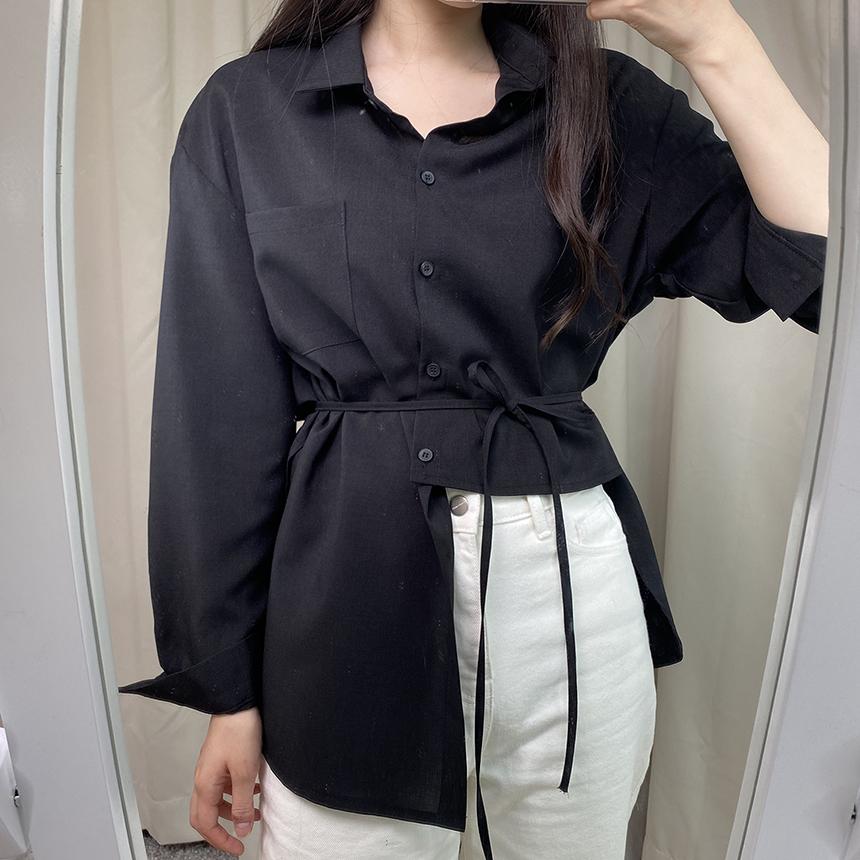 Heerin Cara String Unbalanced Boxy Shirt 2colors