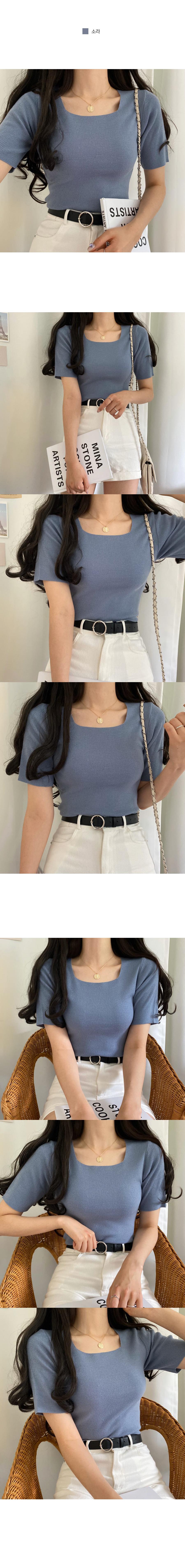 Bubble Square Neck Short Sleeve Knit