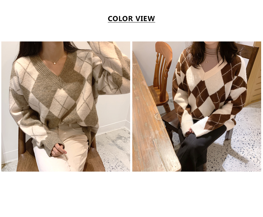 V-neck color Argyle knit T#YW414