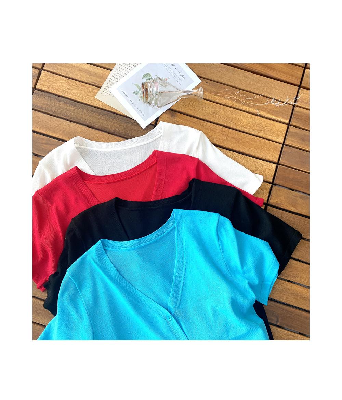 Stiff V-neck short sleeve cardigan T#YW054