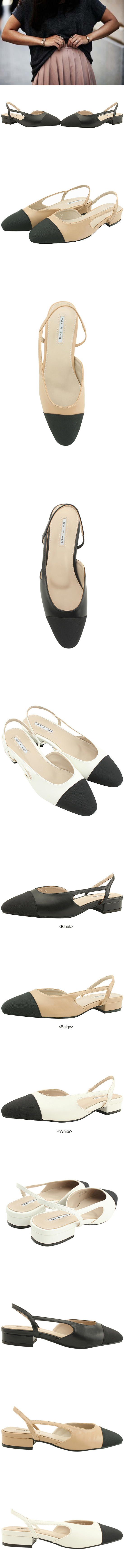 Satin Combi Slingback Flat Shoes White