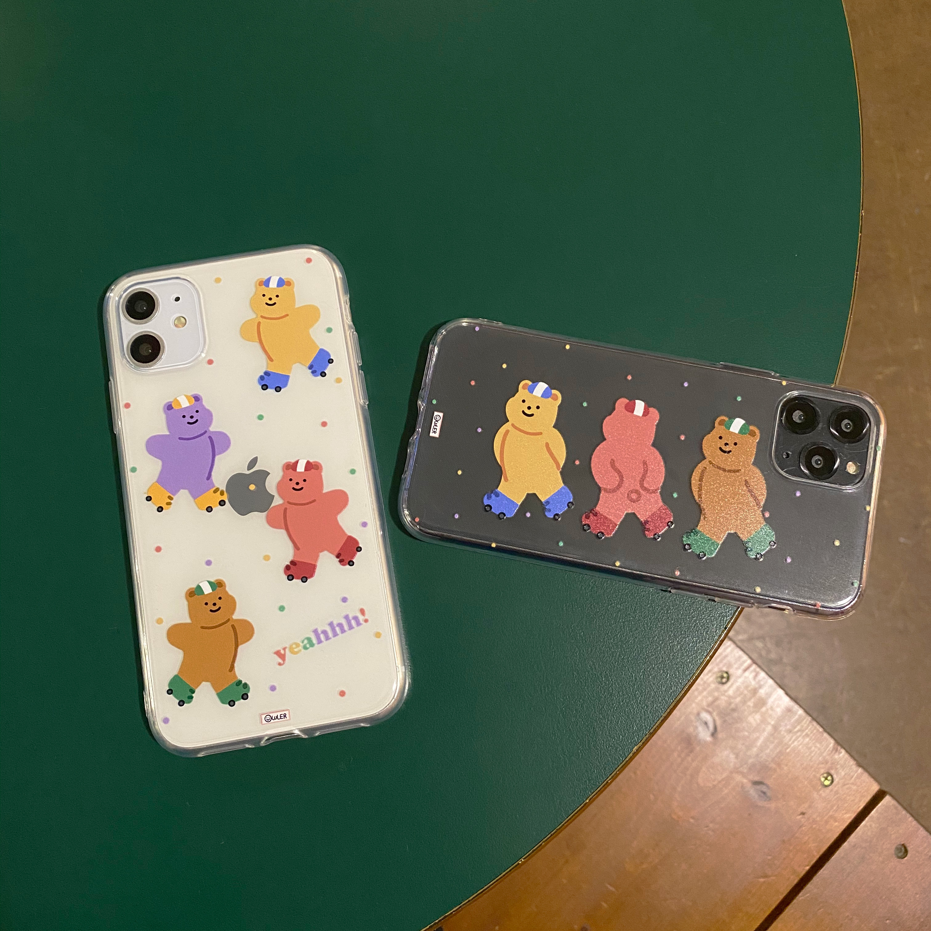 Roller Skating Bear Transparent Jelly iPhone Case