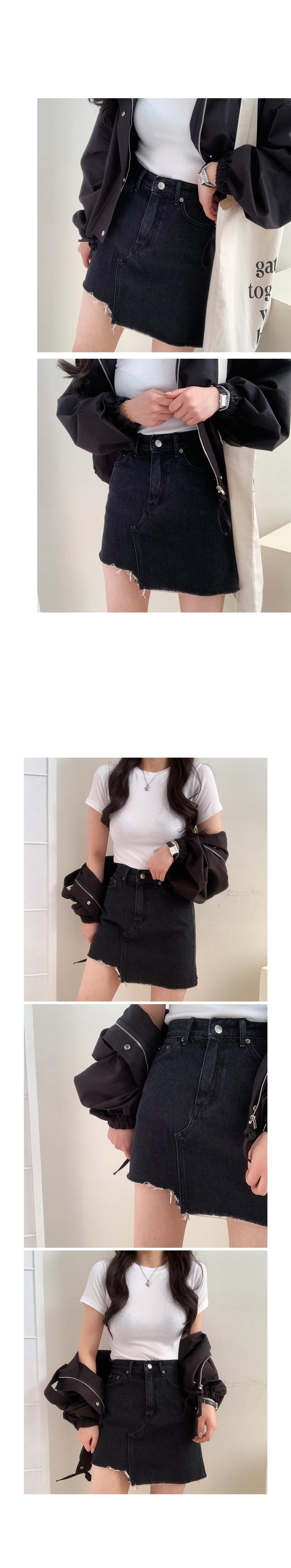 Black Unbal Denim Skirt