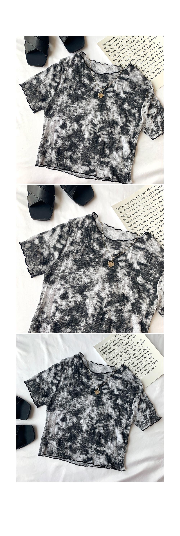 Water printing wrinkle cropped short-sleeved tee