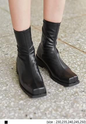 Back Zip Square Toe Ankle Boots
