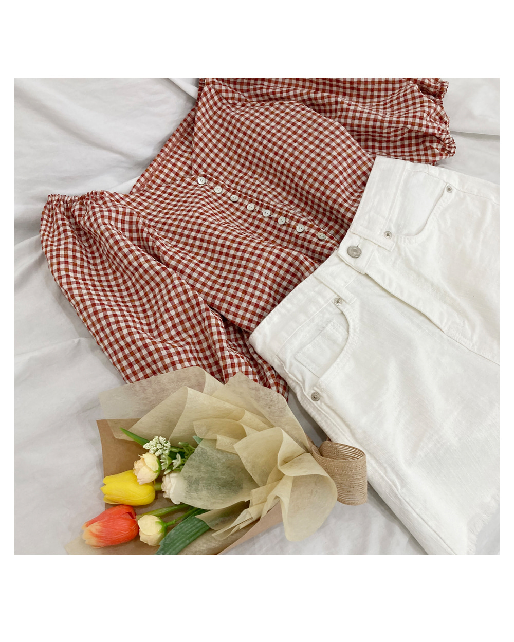 Cowhide check blouse T#YW648