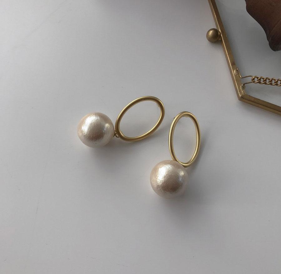 Big Round Pearl Pearl Drop Earrings