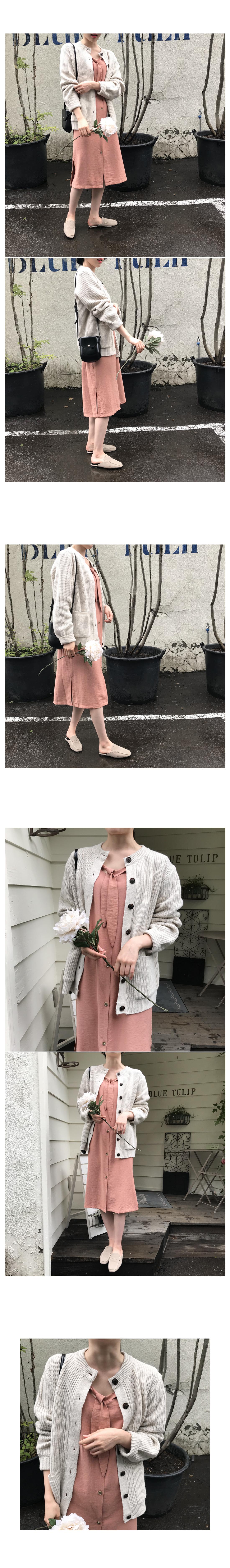 Ribbon Button Long Dress-Pink