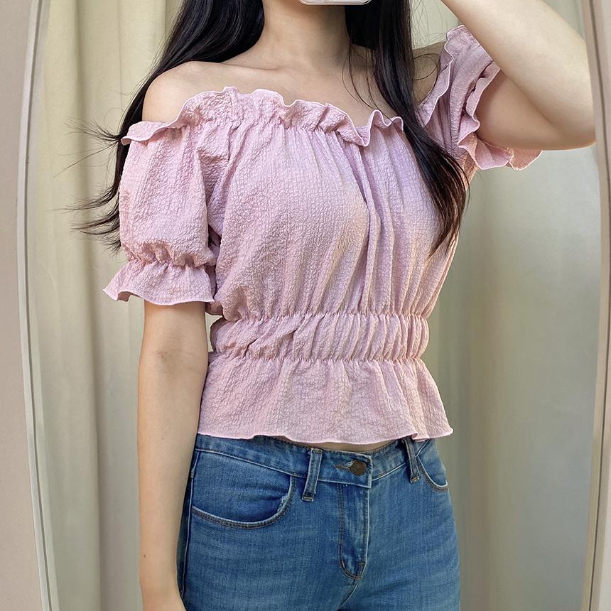 Hey Lin Short Sleeve Glam Shirring Off Shoulder Blouse 4colors