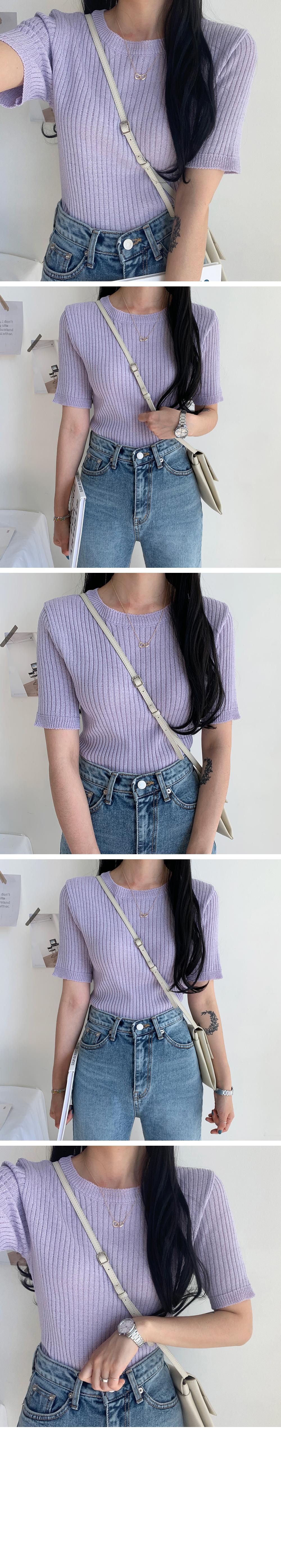 Queen Ribbed Knitwear Short Sleeve