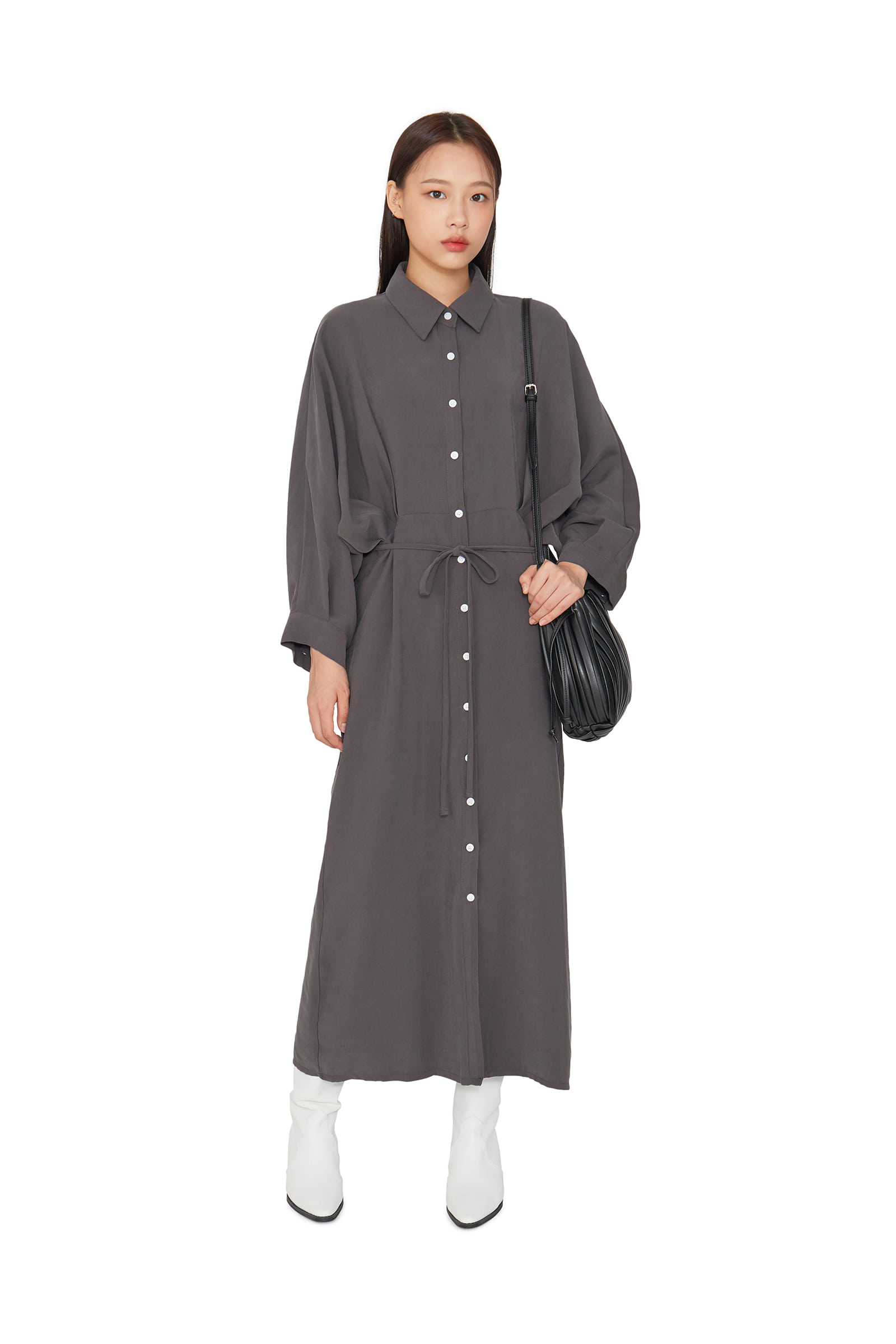 Shadow pintuck shirt maxi dress