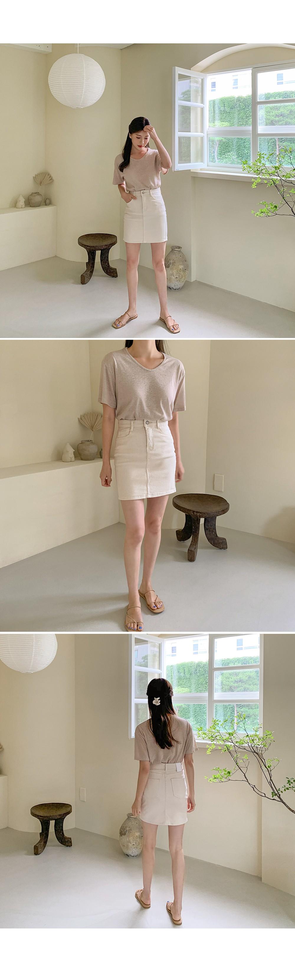 ★Denim planning ★Short bending cotton mini SK♥H line