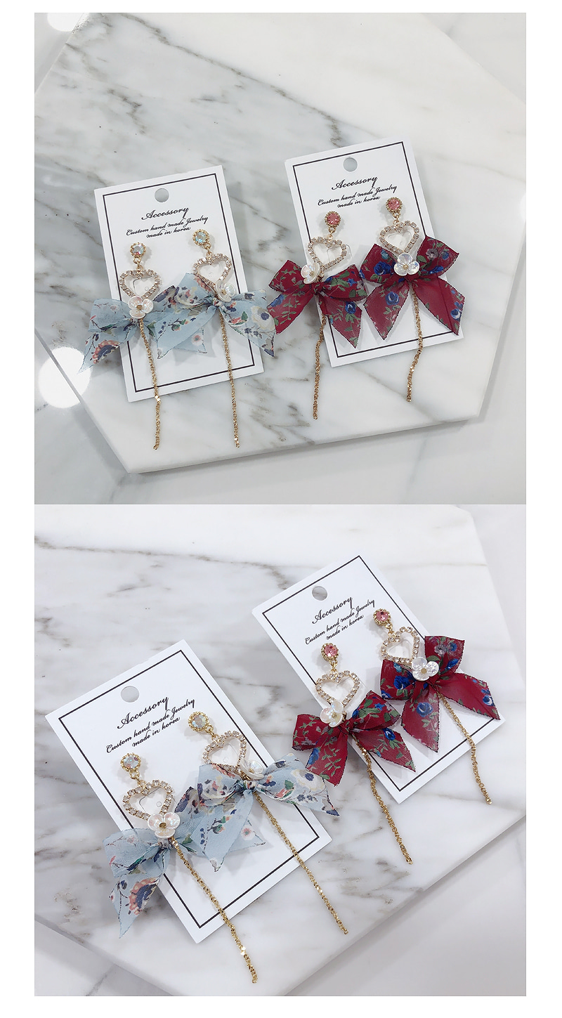 Annie Flower Heart Ribbon Earrings