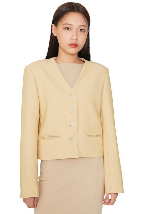 Collarless single short jacket