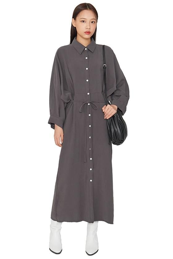 Shadow pintuck shirt maxi dress 洋裝