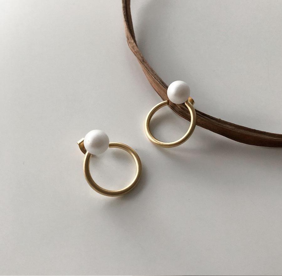 Blanc Pearl Matte Ring Earrings