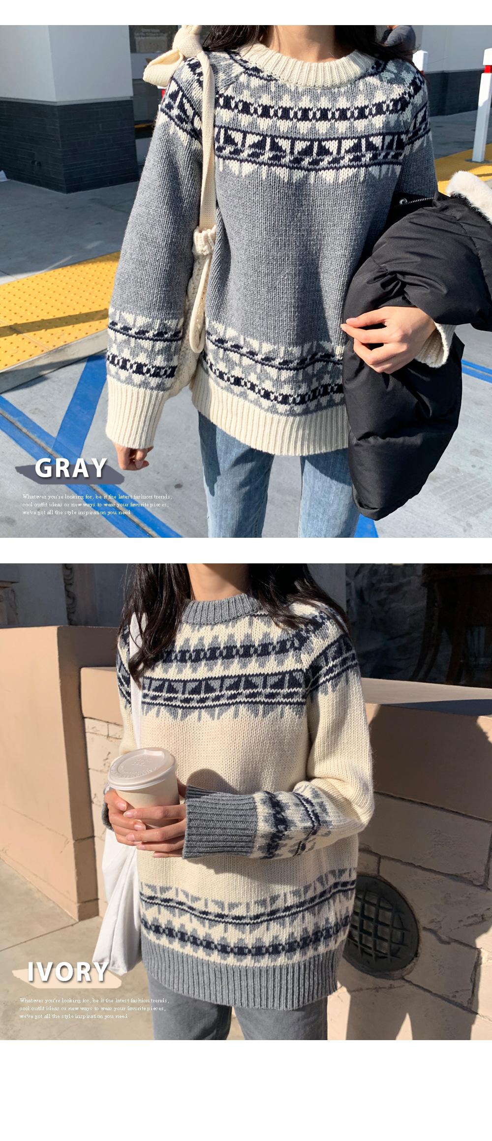 Winter round neck pattern knit T#YW437