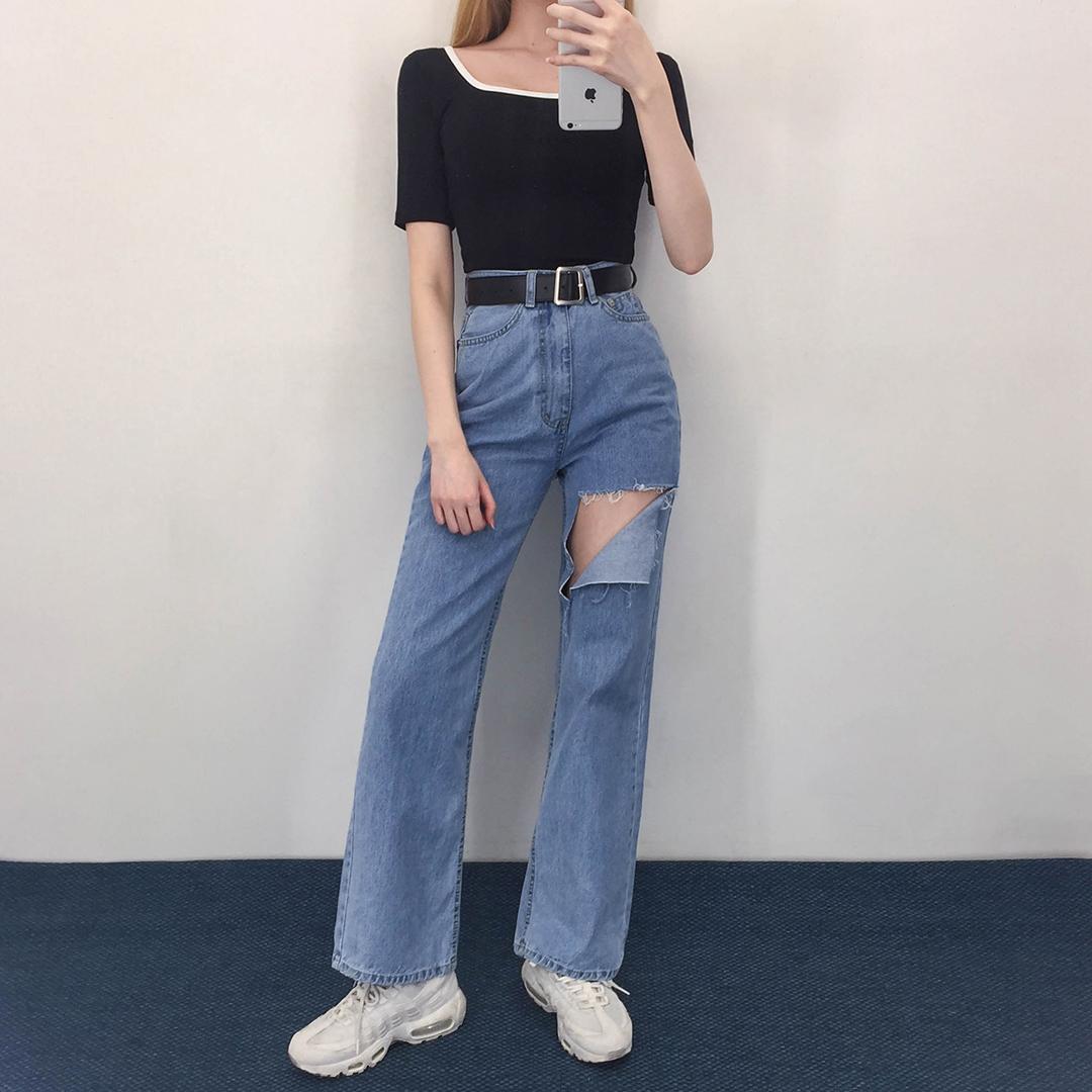 119 damage wide pants