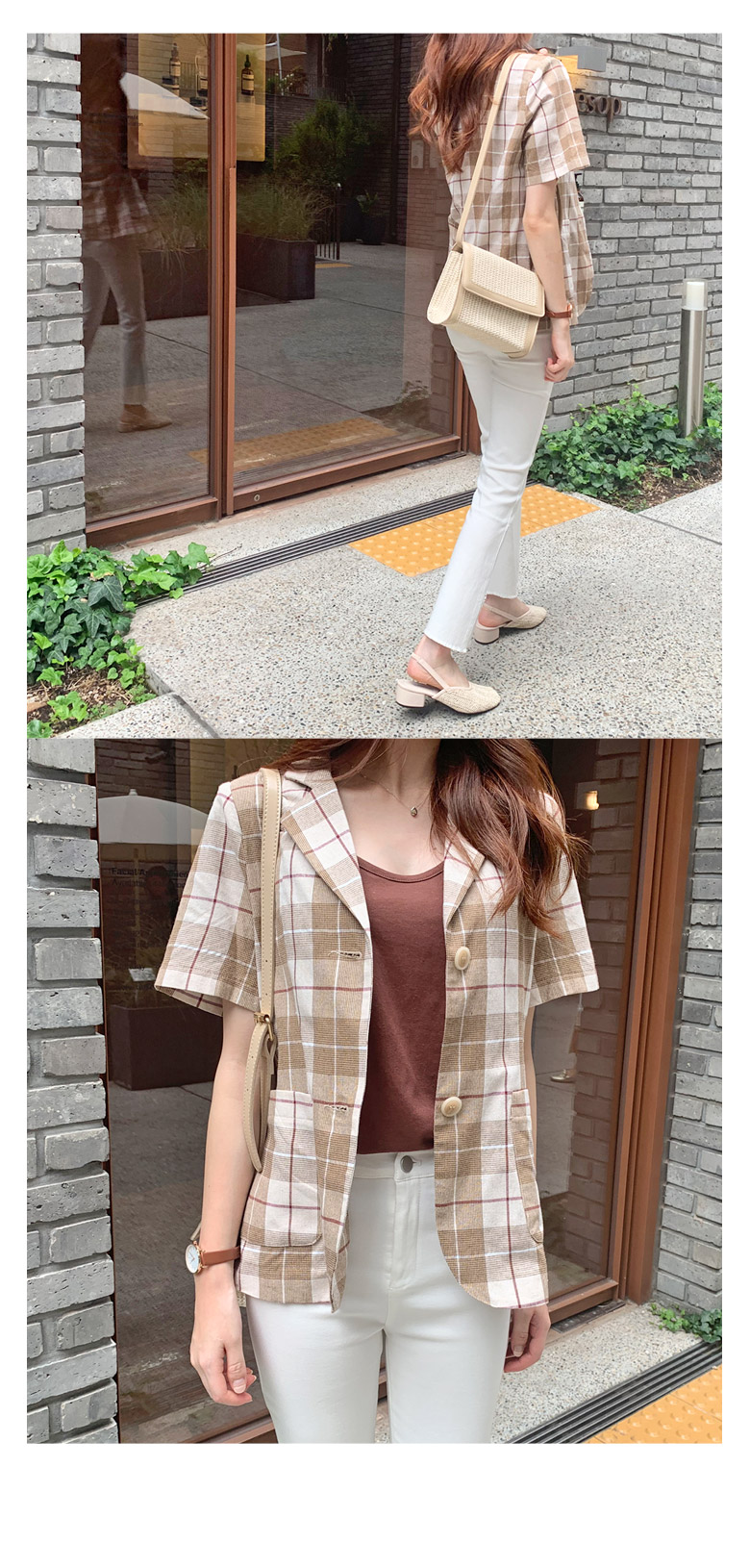 Bella linen check jacket