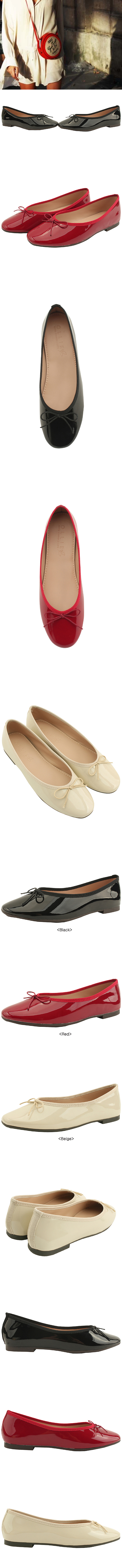 Ribbon Round Toe Enamel Flat Shoes Beige