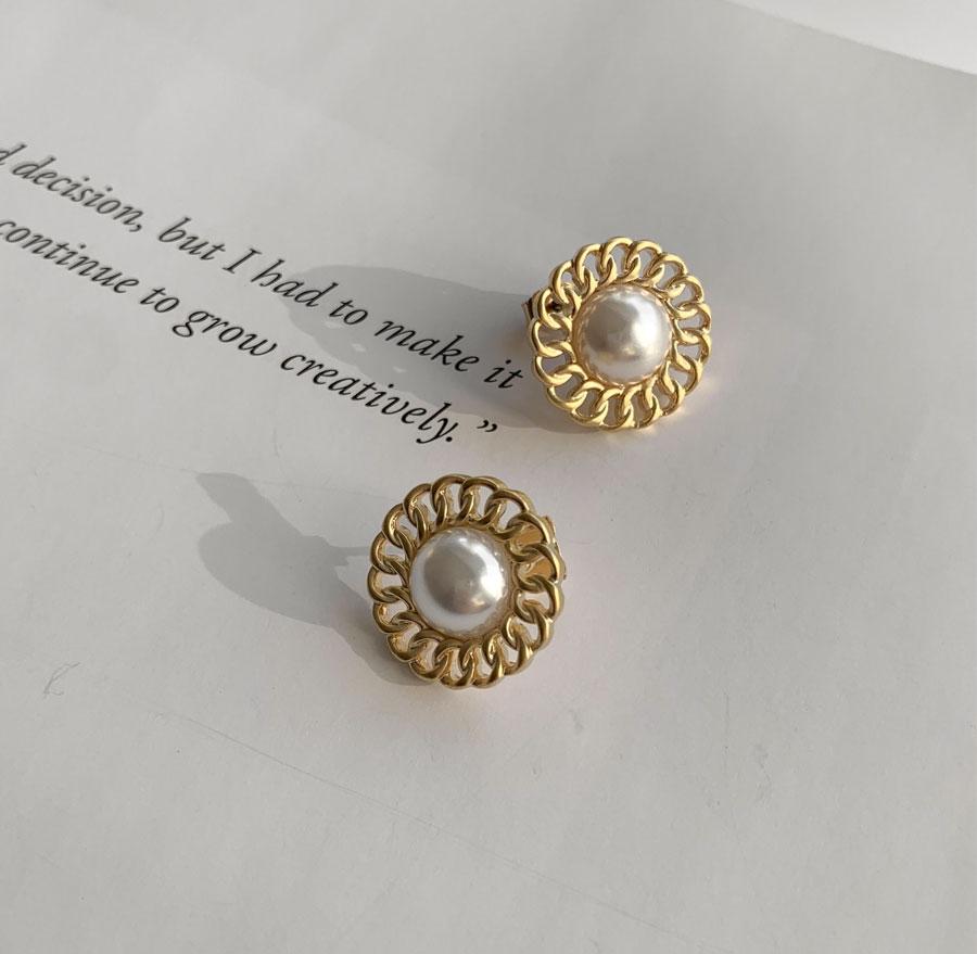 Shine Pearl Flower Earrings