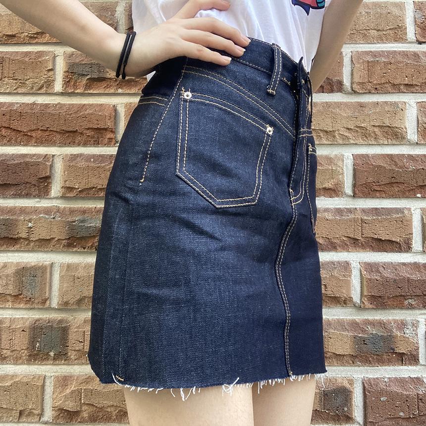 Back Pocket Raw Cut Denim Skirt 1colors