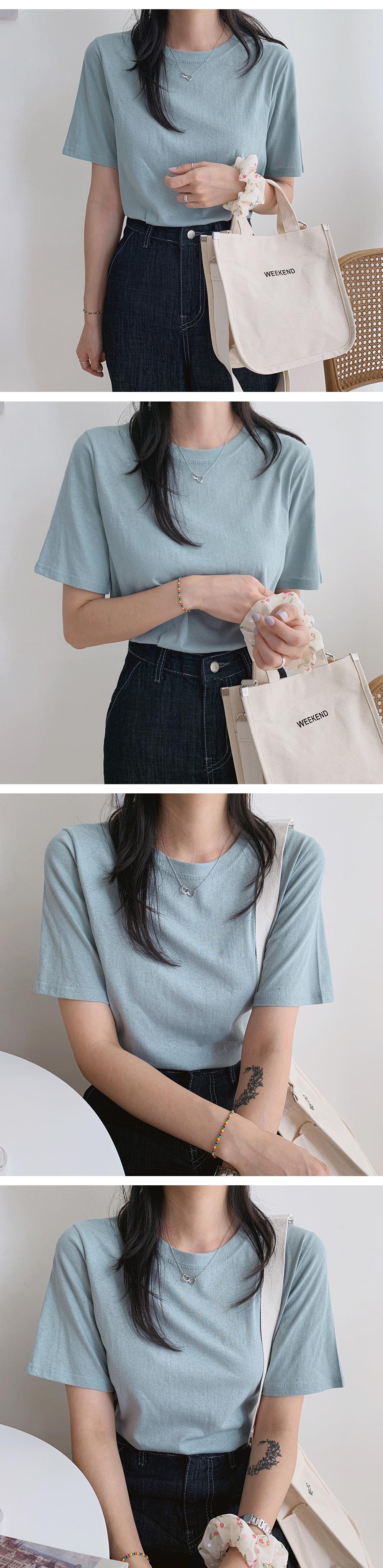 Slack fit plain short sleeve tee