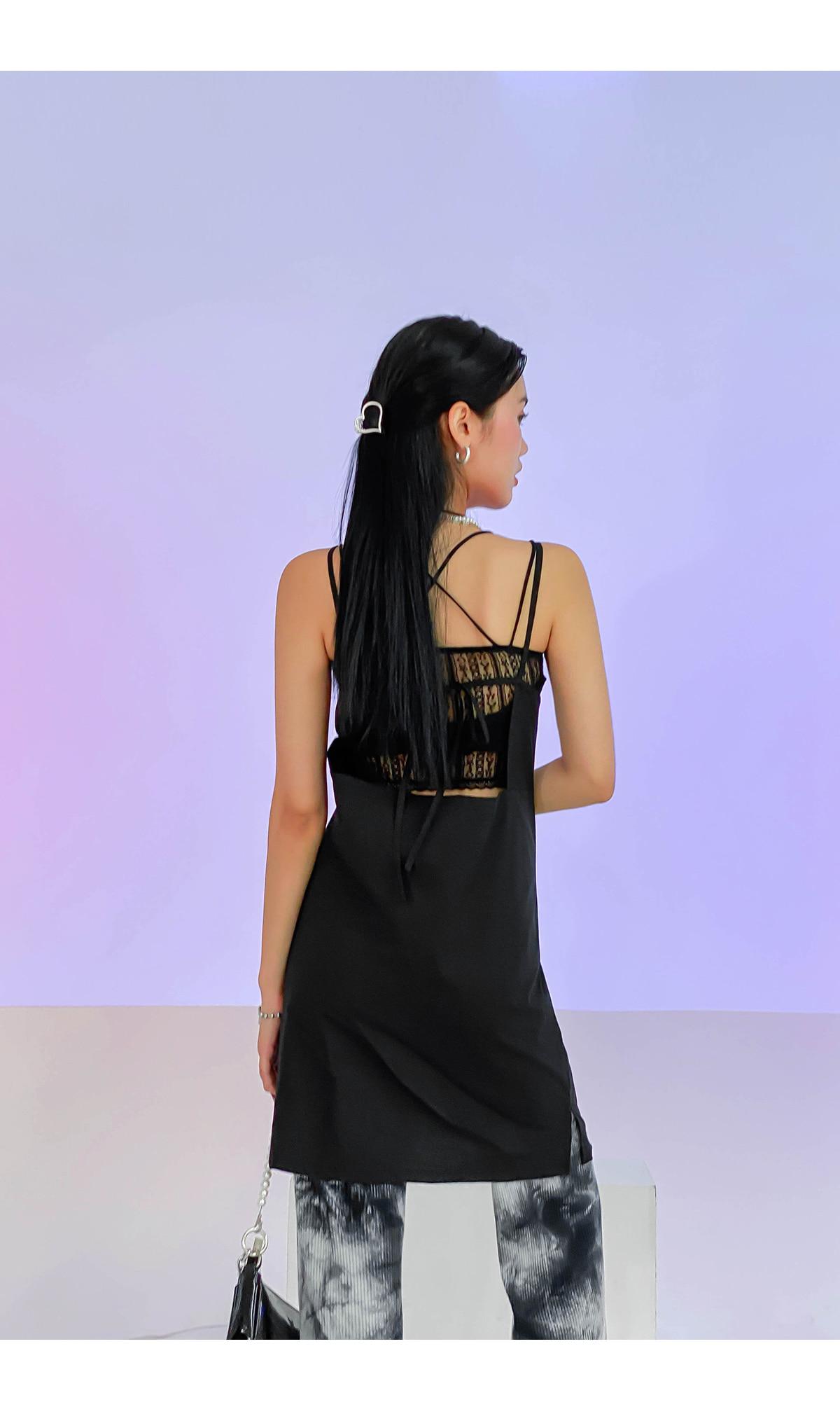 Back ribbon meringue mini dress