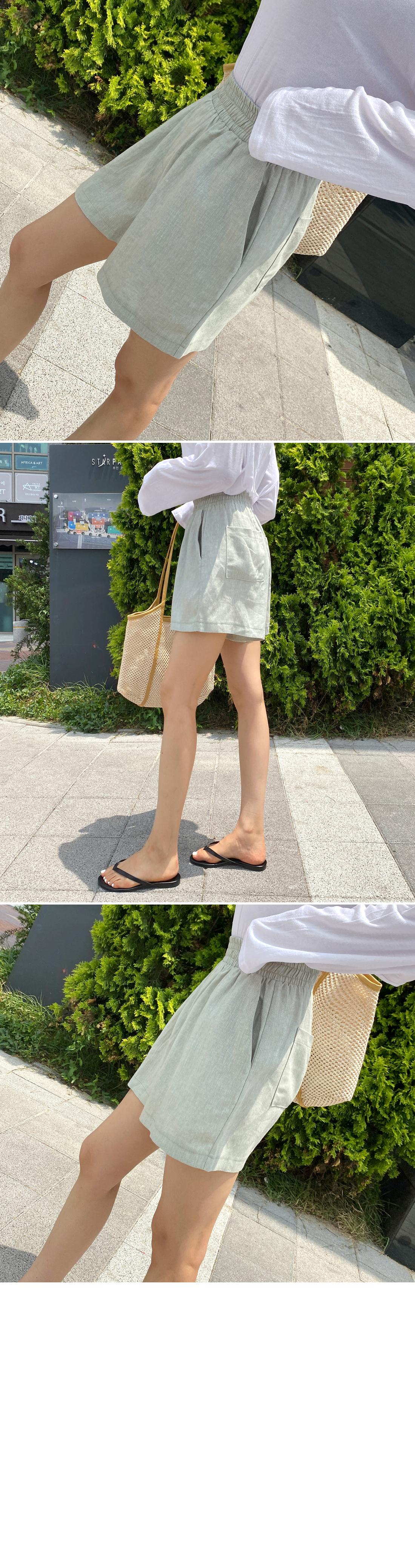 Linen herringbone smoke banding shorts