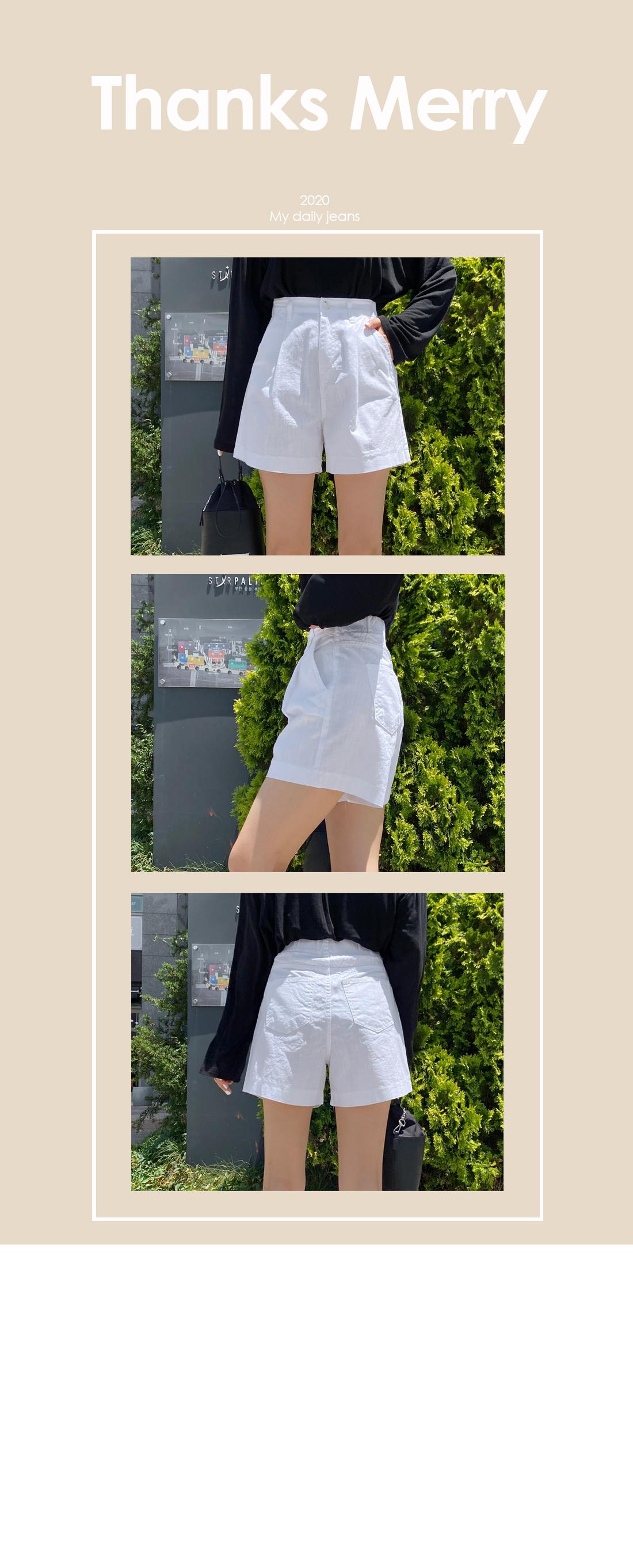 Hemp banding pin tuck 3 shorts
