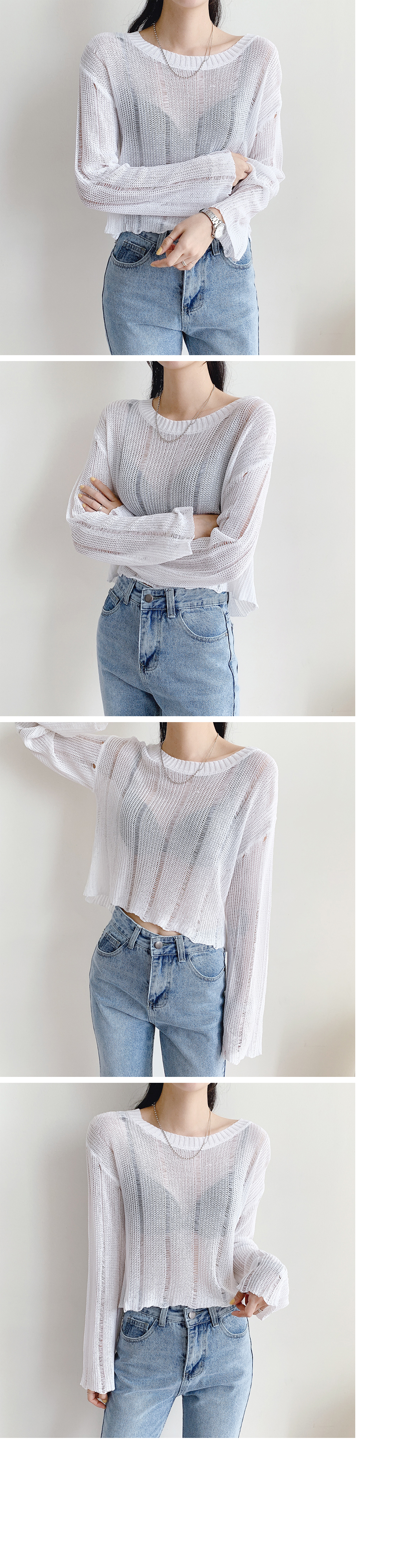 See-through cropped round knit