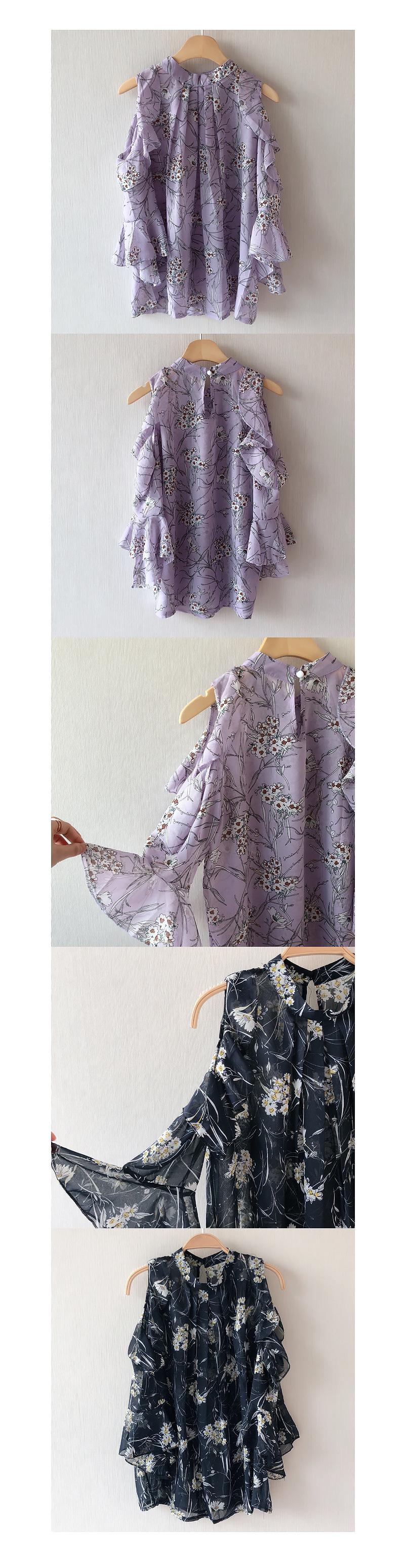 Lilac flower off shoulder blouse