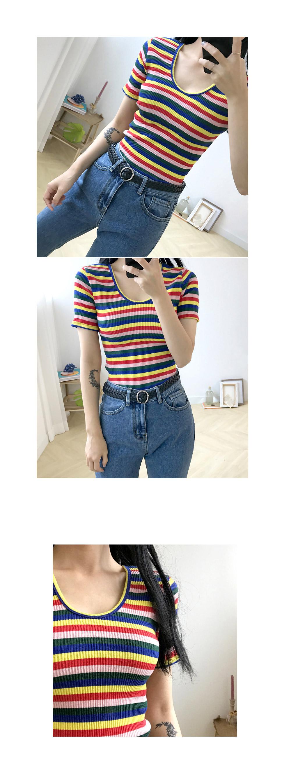 Yang V color pop Ribbed short sleeve