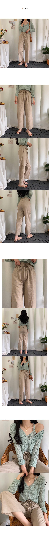 Ribbon Point Banding Linen Pants