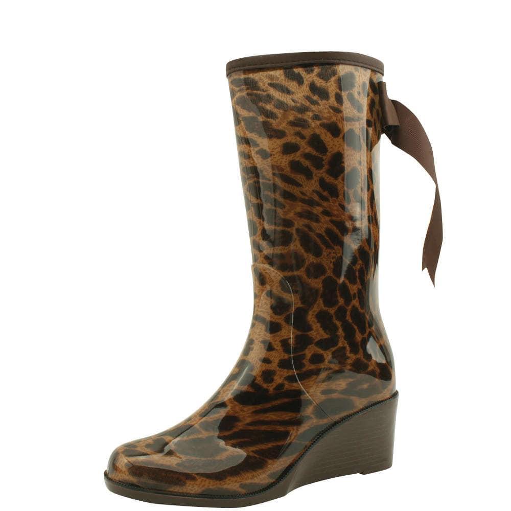 Wedge middle heel rain boots leopard