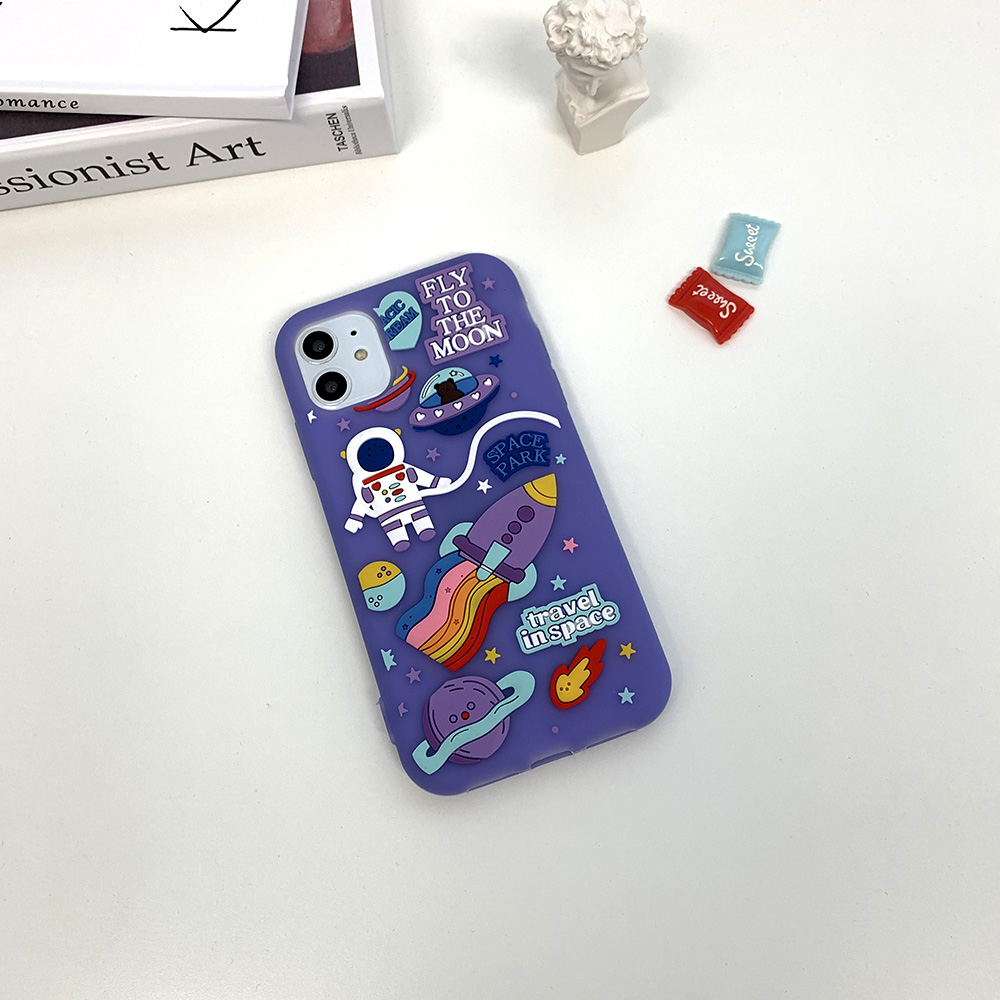 Space rocket stereoscopic silicone iphone case