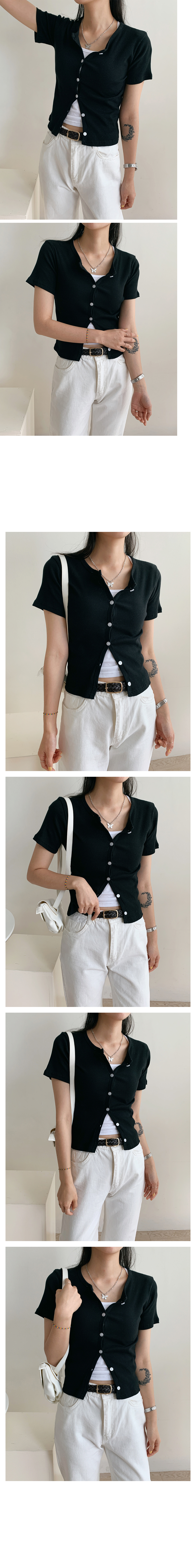 Ribbed button short sleeve cardigan
