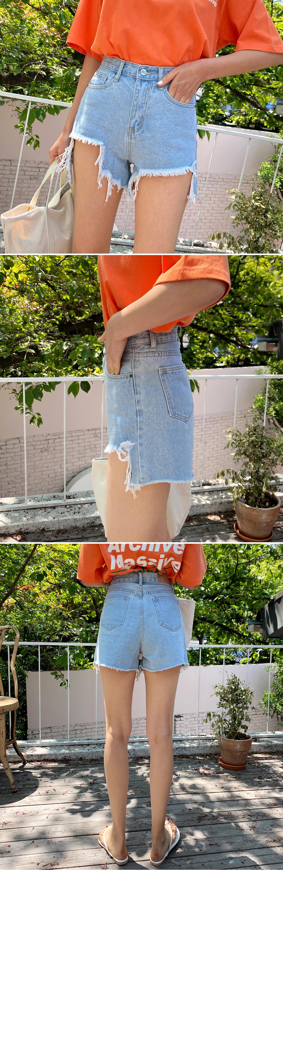 Unique undress relief denim short pants
