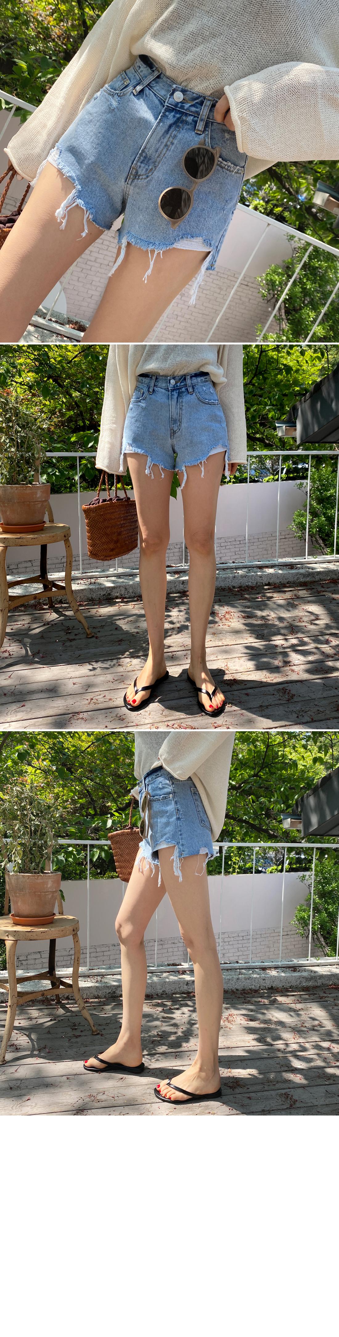 Duck uncut cut denim short pants