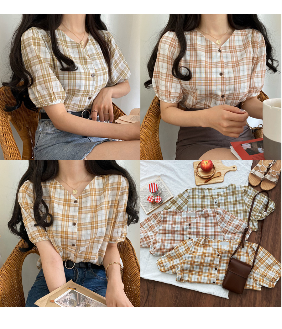 Bakery Check Linen Blouse