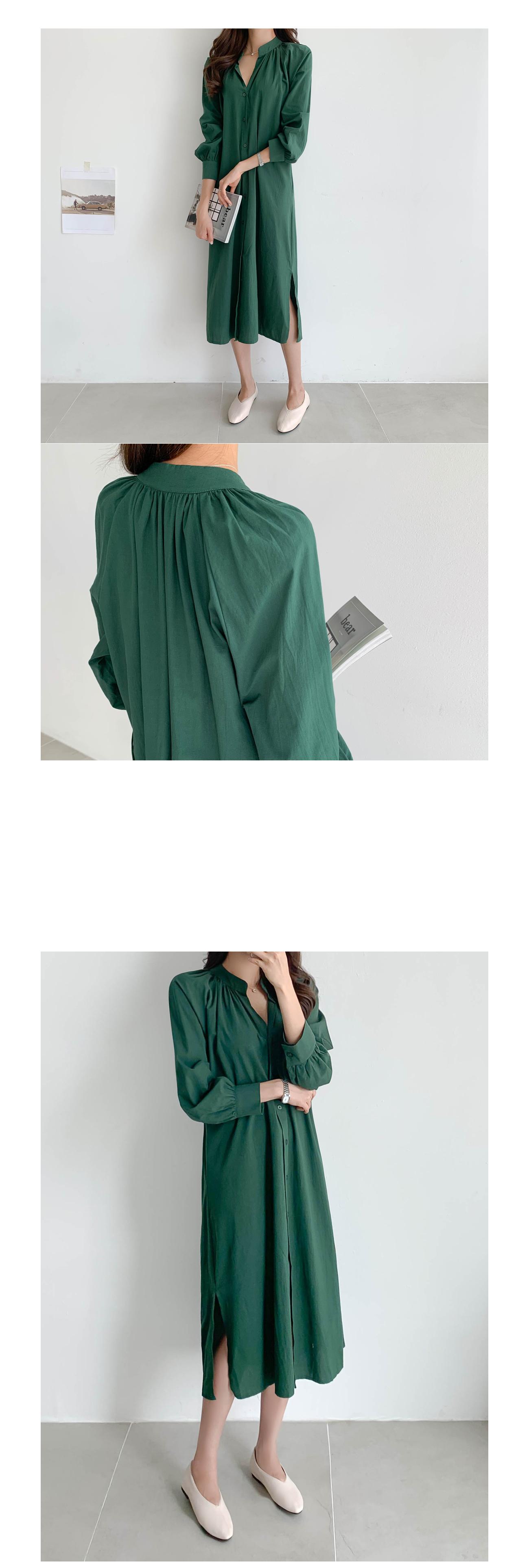 Side slit balloon long dress #37274