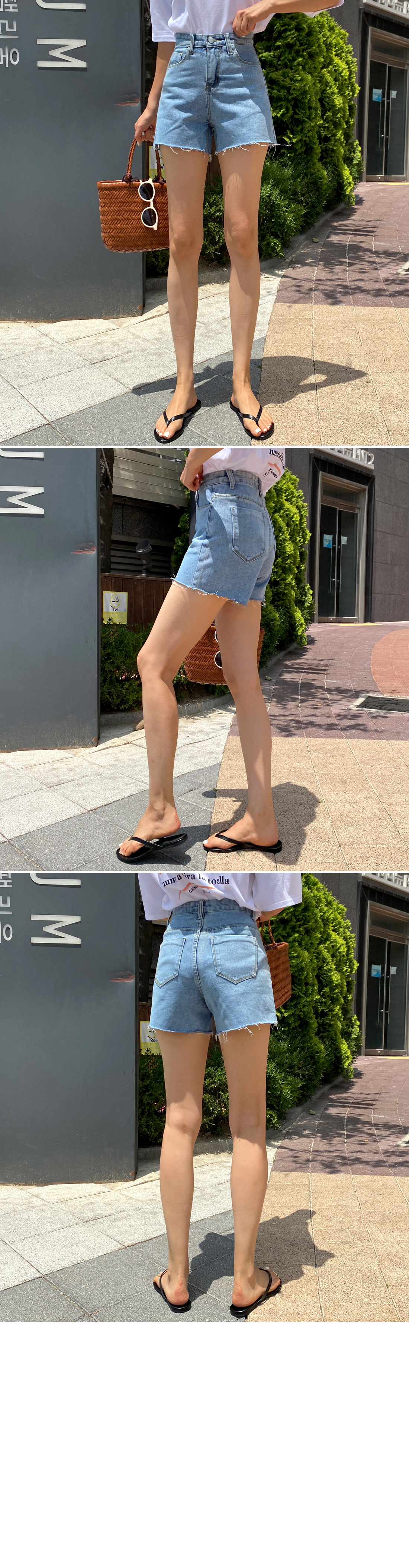 Washing blue cutting denim short pants