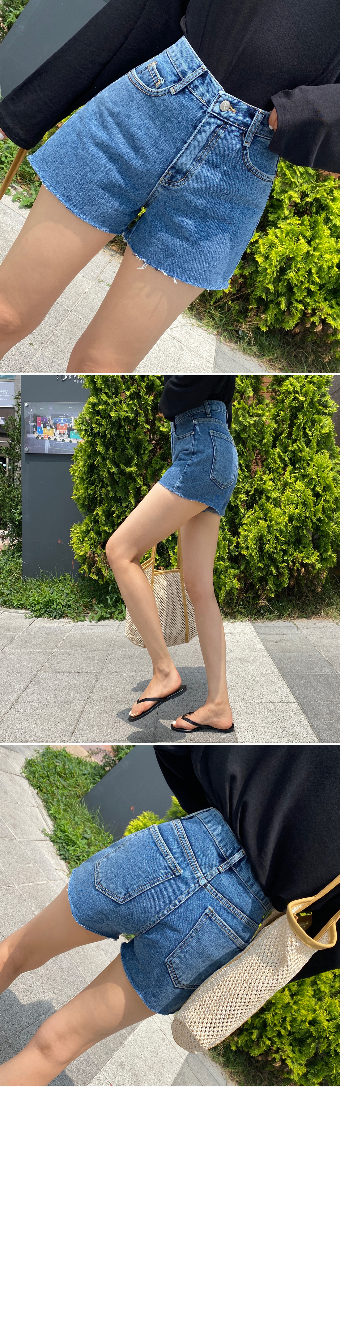 Simple high waist denim short pants