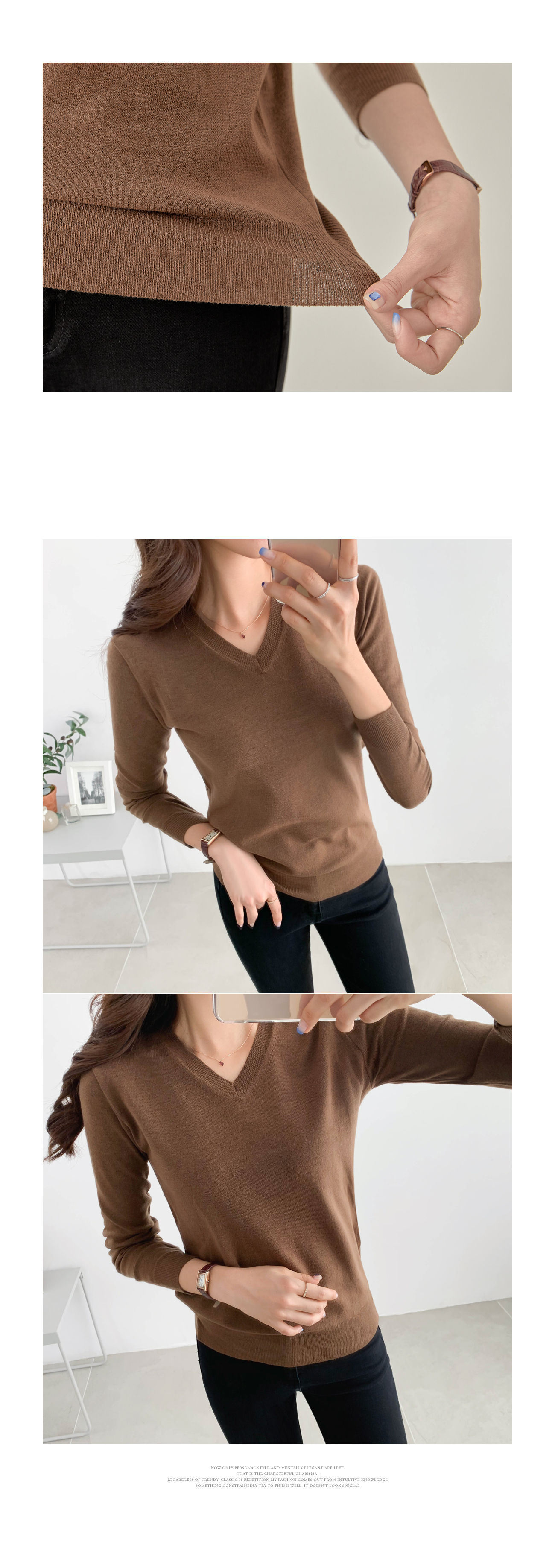 Clean Fit Simple V Neck Knit #107471
