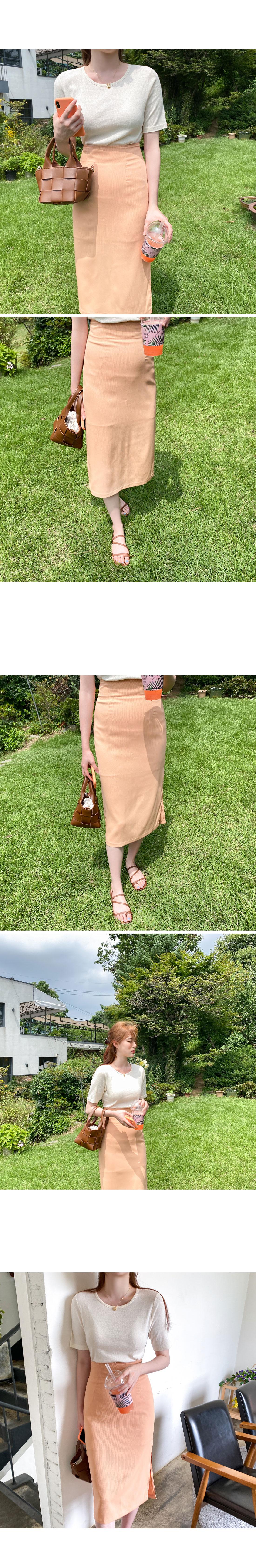 Grapefruit Split Long Skirt - Coral Orange S Same Day Shipping