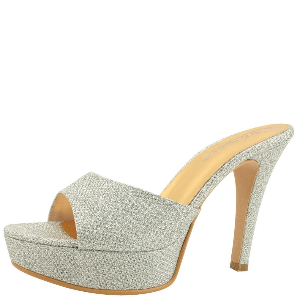 韓國空運 - Bling Bling High Heel Mule Slippers 11cm Silver 涼鞋